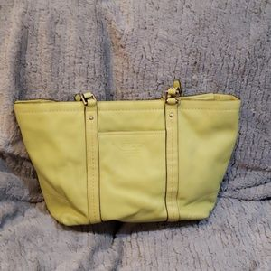 Coach A0959-f13098 Light Green Leather Tote
